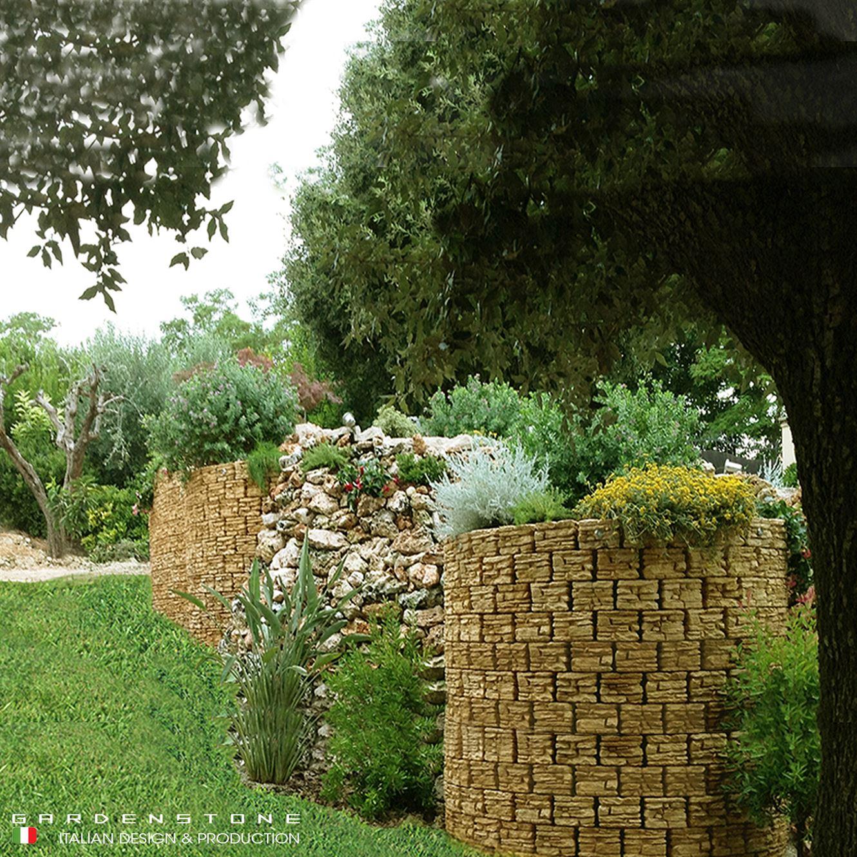 Muretto fioriera circolare alto in finta pietra