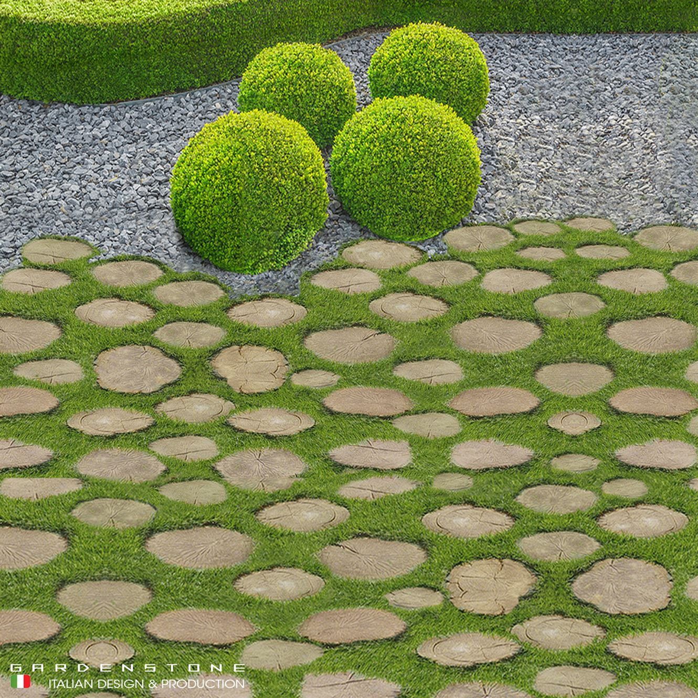 Pavimentazione con finti tronchi d'albero
