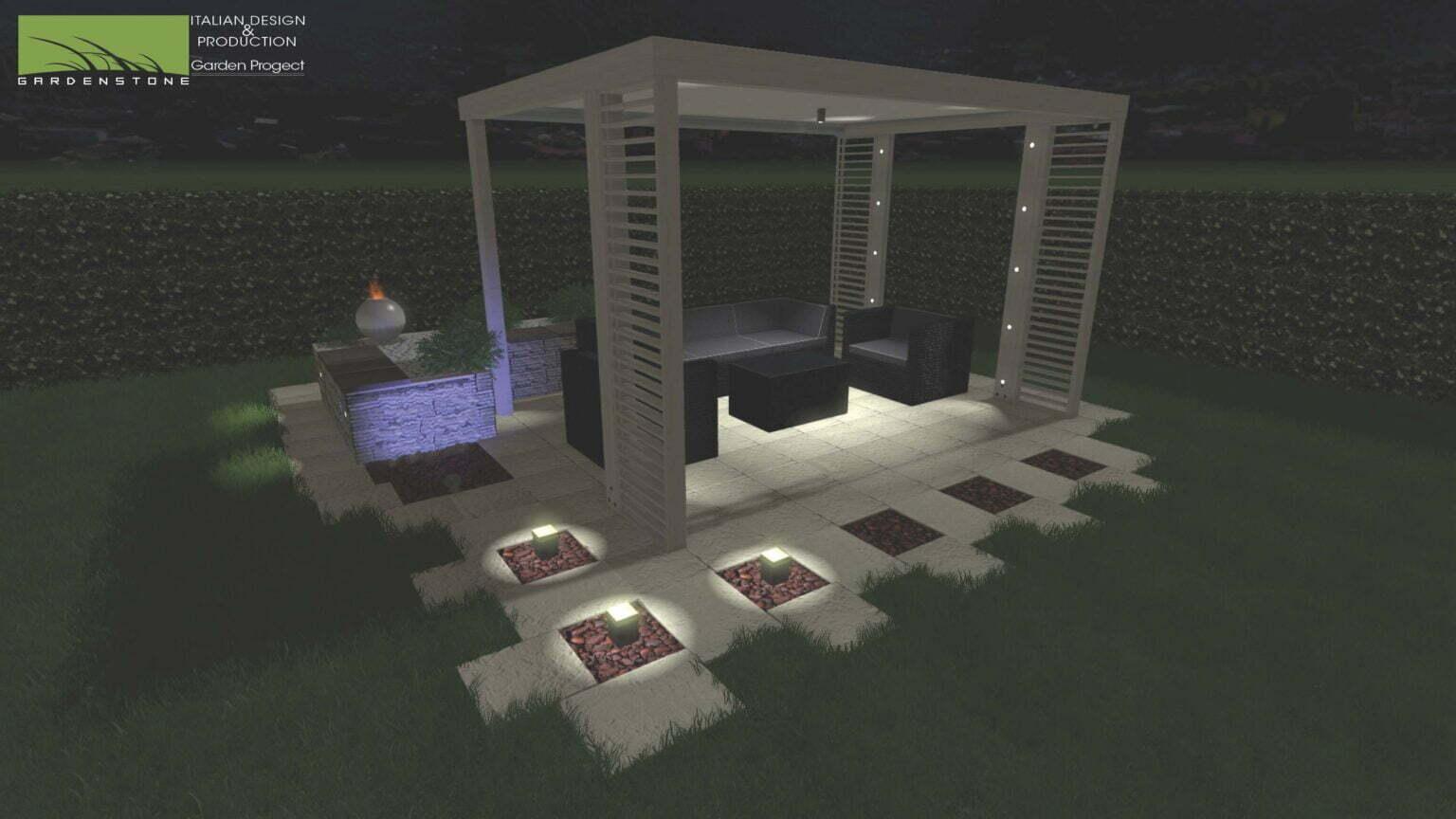 Giardino con gazebo